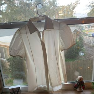 White pleated button down babydoll shirt